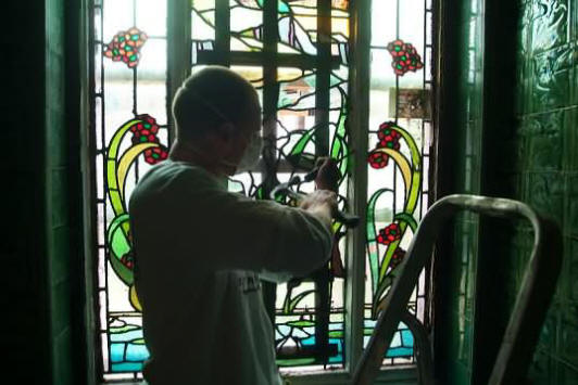 Working on the stained glass windows