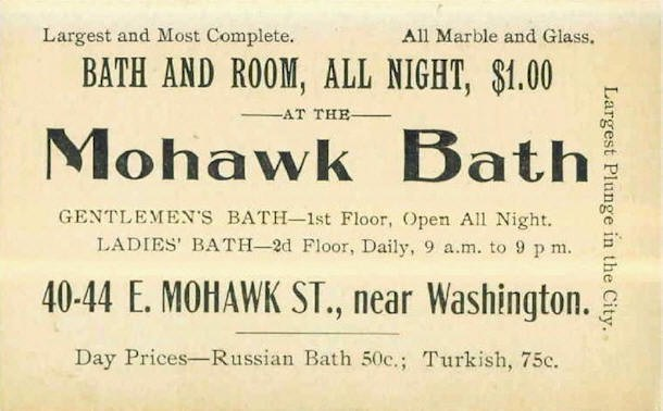 Victorian turkish baths usa buffalo ny east mohawk street 40 44 mohawk bathbuffalo ny business card end of 19th century reheart Gallery