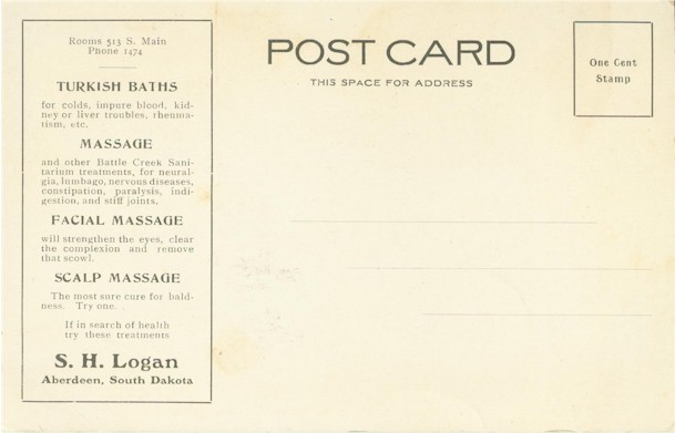 Advertising side of the postcard