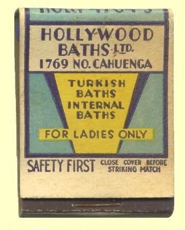 Hollywood Turkish baths book match cover