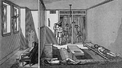 Two rooms at the Laight Street Turkish baths, 1867