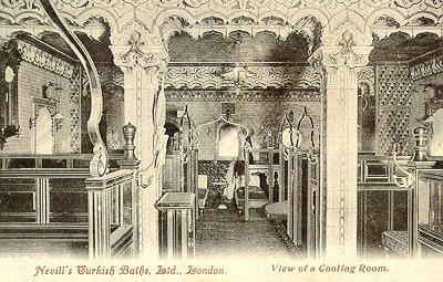 Cooling room at Nevill's New Broad Street baths, early 1900s