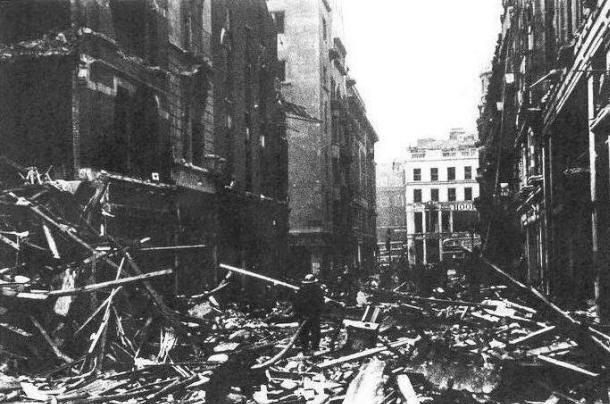 76 Jermyn Street (left foreground) after the blitz, 1941