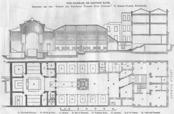 Cross-section and ground floor plan of the London Hammam