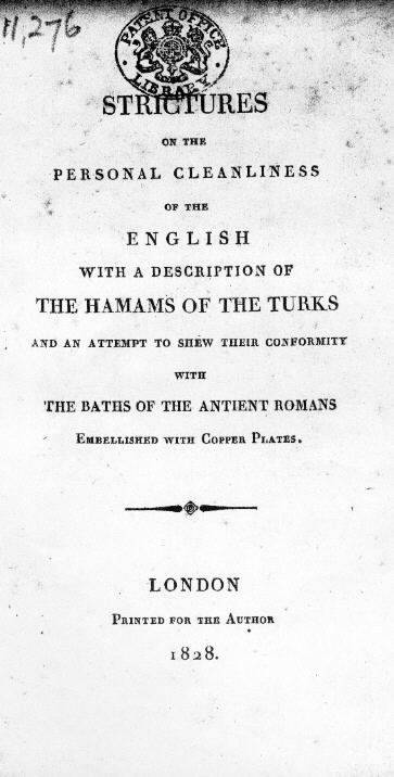 "Title page of ""Strictures on the cleanliness of the English"""