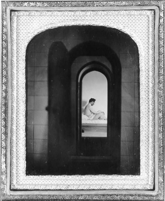 Early photograph of bather in hot room in a private Turkish bath