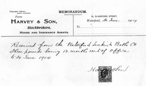 Receipt for payment of office rent, 1904