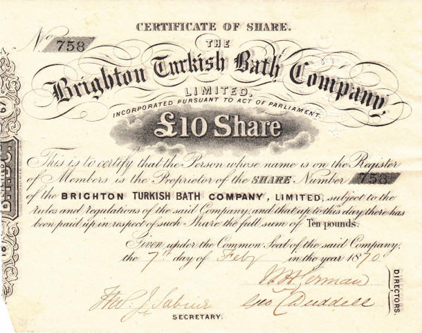 VICTORIAN TURKISH BATHS Companies Brighton Turkish Bath Company – Company Share Certificates