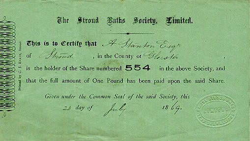 Share certificate for The Stroud Baths Society Limited