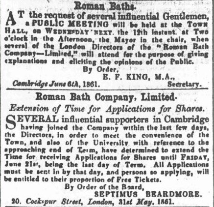 Advertisements for June 1861 meeting and extended share offer