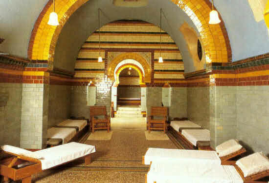 View of three hot rooms, Royal Turkish Baths, Harrogate