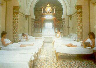 Women's day in the cooling-room at the Royal Turkish Baths, Harrogate
