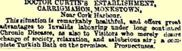 Ad for Dr Curtin's Establishment, 1865