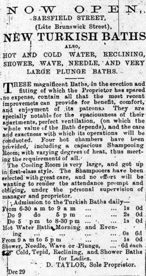 Advertisement announcing opening of the baths