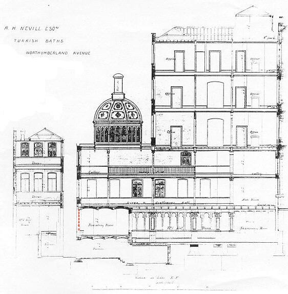 Section through Nevill's Northumberland Avenue HQ